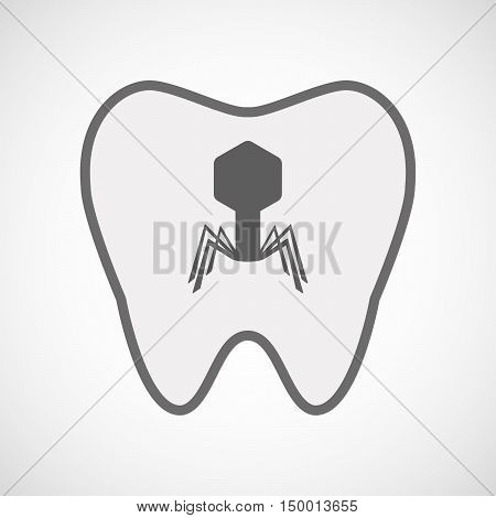 Isolated Line Art Tooth Icon With A Virus