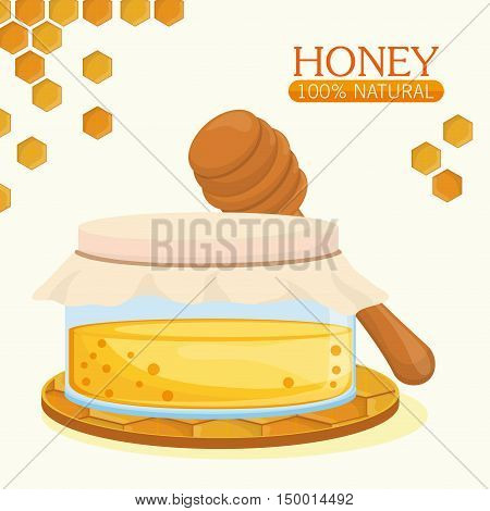 Honeycomb jar and sitck icon. Honey healthy and organic food theme. Colorful design. Vector illustration
