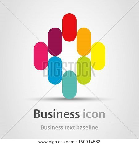 Rainbow colors icosahedron  business icon with shadow