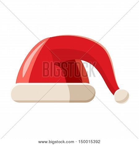Red hat with pompom icon in cartoon style isolated on white background. Headdress symbol vector illustration