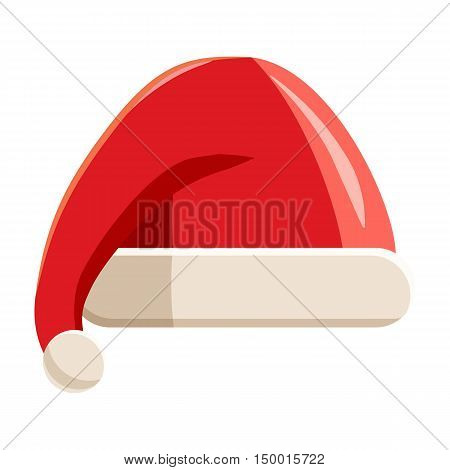 Red hat with pompom of Santa Claus icon in cartoon style isolated on white background. Headdress symbol vector illustration