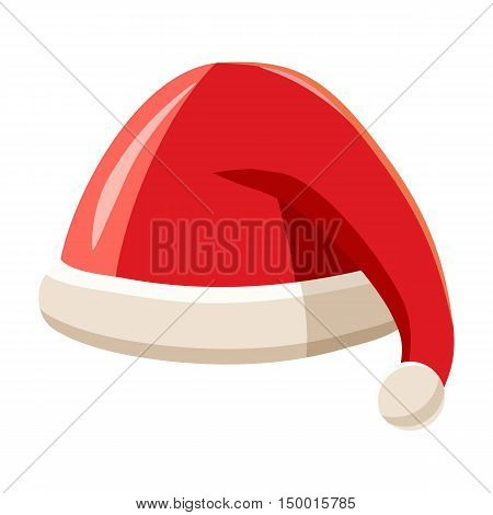 Christmas red hat with pompom of Santa Claus icon in cartoon style isolated on white background. Headdress symbol vector illustration