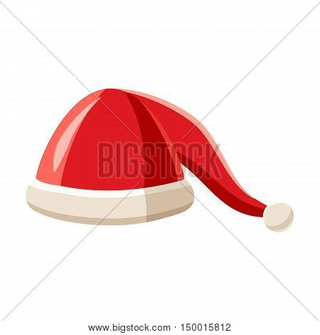 Hat with pompom of Santa Claus icon in cartoon style isolated on white background. Headdress symbol vector illustration