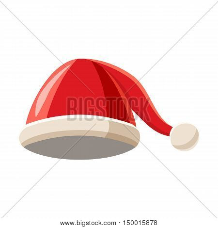 Christmas hat with pompom icon in cartoon style isolated on white background. Headdress symbol vector illustration poster