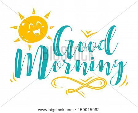 God morning. Lettering with sun character. Modern calligraphy style set. Vector stock ilustration