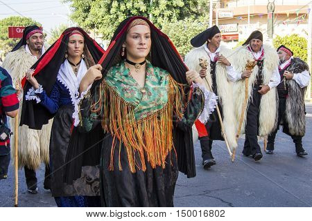 ELARGIUS, ITALY - September 9, 2012: Former marriage Selargino - Sardinia - portrait of a beautiful girl in the folk group Sant'Agata of Santadi