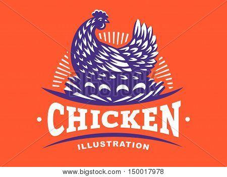 Hen incubates the eggs illustration emblem on red background