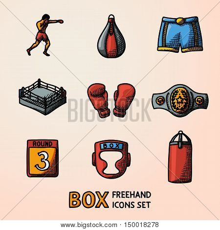 Set of boxing hand drawn color icons - gloves, shorts, helmet, round card, boxer, ring, belt, punch bags. Vector illustration