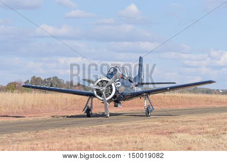 BLOEMFONTEIN SOUTH AFRICA - JULY 16 2016: A T 28 Trojan at a public display at the Tempe Airport at Bloemfontein