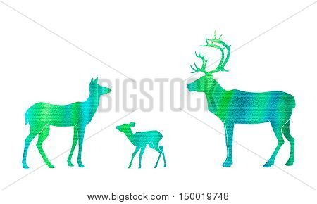deer silhouettes with hand drawn watercolor texture