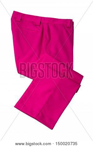 Pink pants trousers for man or woman on white background