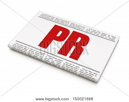 Marketing concept: newspaper headline PR on White background, 3D rendering