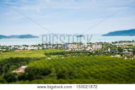 Tilt shift of chalong bay view from mountain Phuket Thailand