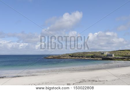Transparent waters of Kilmurvey Beach in Inishmore, the biggest of Aran Islands, Galway Bay, Ireland, Europe