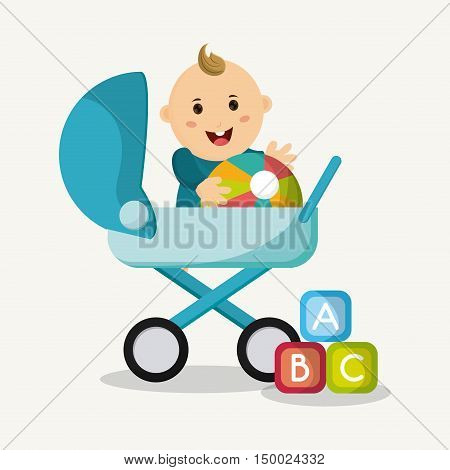 Baby boy cartoon and stroller. Baby shower and childhood theme. Isolated and colorful design. Vector illustration