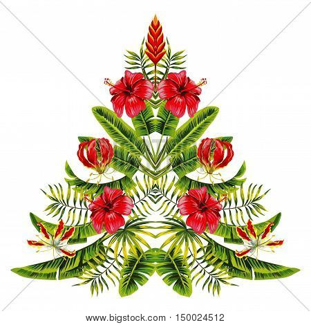 Vector painting christmas tree in hawaii mirror style hand drawn of tropical hibiscus flowers and palm banana leaves. Exotic symbol of the new year merry Xmas on a white background