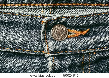 Estonia, Tallinn, Septemberr 28, 2016. Estonia. Tallinn Close up of the LEVI'S button on the blue jeans. LEVI'S is a brand name of Levi Strauss and Co, founded in 1853