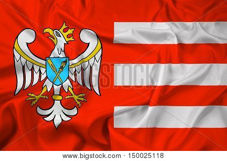 Waving Flag of Gniezno County Poland, with beautiful satin background. 3D illustration