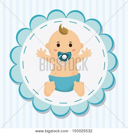 Baby boy cartoon inside seal stamp. Baby shower and childhood theme. Colorful design. Vector illustration