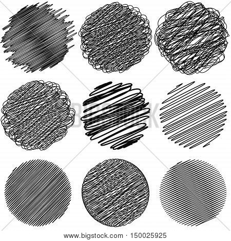 Set of Doodle circles irregular lines drawn with a pen or pencil in a circle, complex geometric shapes created using calligraphy pen with ink, vector Doodle for print or website design