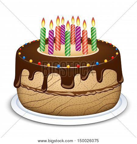 Illustration of chocolate cake on white background