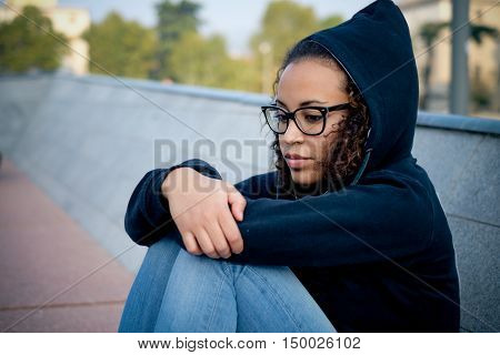 Sad Young Afro-american Girl Alone