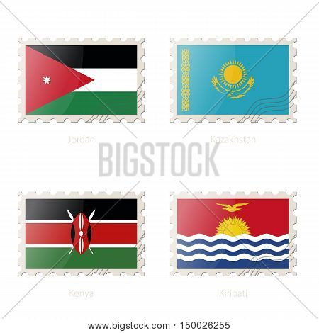 Postage Stamp With The Image Of Jordan, Kazakhstan, Kenya, Kiribati Flag.