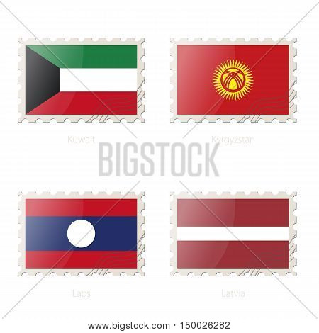 Postage Stamp With The Image Of Kuwait, Kyrgyzstan, Laos, Latvia Flag.