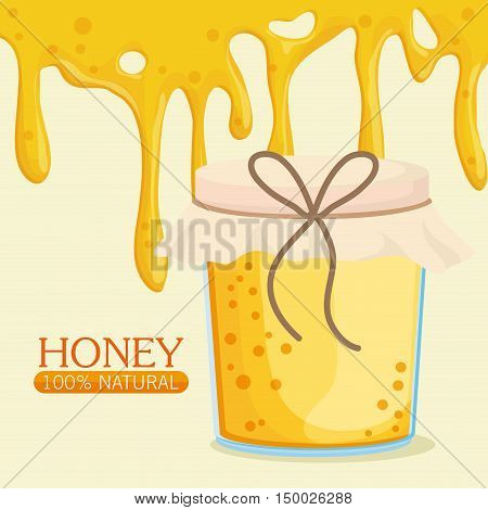 Honey dripping and jar icon. Healthy and organic food theme. Colorful design. Vector illustration