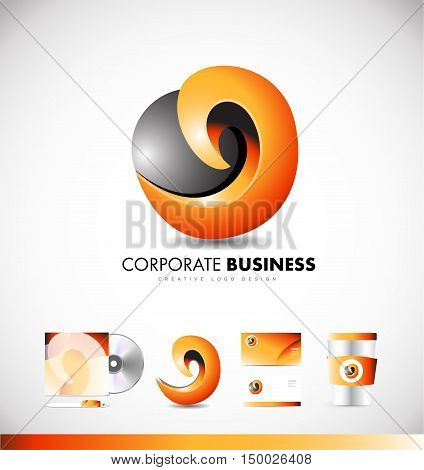 Corporate business sphere abstract sign 3d vector icon sign design template identity