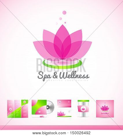 Spa wellness beauty lotus flower vector logo icon sign design template corporate identity brochure