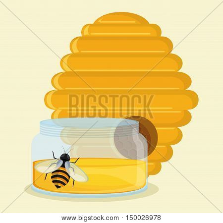 Honeycomb jar and bee icon. Honey healthy and organic food theme. Colorful design. Vector illustration