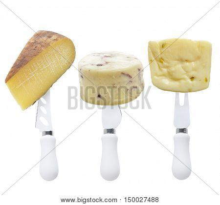 Various types of cheese and cheese knives