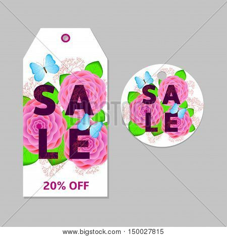Floral sale tags labels with pink flowers green leaves and Blue butterflies