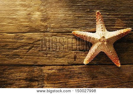 Star fish on wooden background with copy space (selective focus).