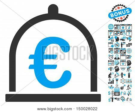 Euro Storage icon with bonus calendar and time management elements. Vector illustration style is flat iconic bicolor symbols, blue and gray colors, white background.
