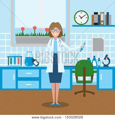 Doctor in the lab. Funny smiling female doctor or scientist in the medical lab. Chemistry cabinet.