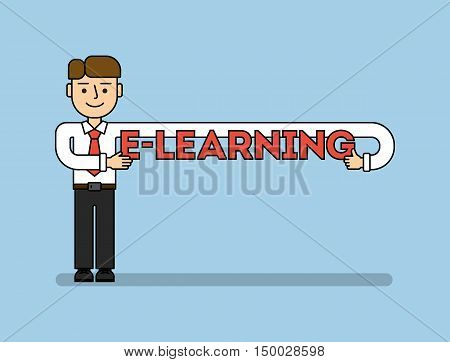 Online education concept. Funny cartoon businessman with e-learning title. Idea of business webinar, distance education and more