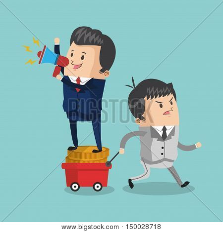 Businessman cartoon megaphone and coins icon. Business strategy solution and work theme. Colorful design. Vector illustration