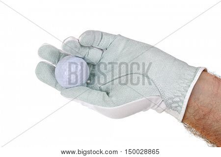 Man wearing white synthetic microfiber Golf glove with a golf ball on it, isolated on white background