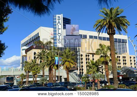 LAS VEGAS - DEC 24: Bally's Las Vegas is a luxury resort and casino on Las Vegas Strip on Dec 24, 2015 in Las Vegas, Nevada, USA. The hotel is owned by Caesars Entertainment.