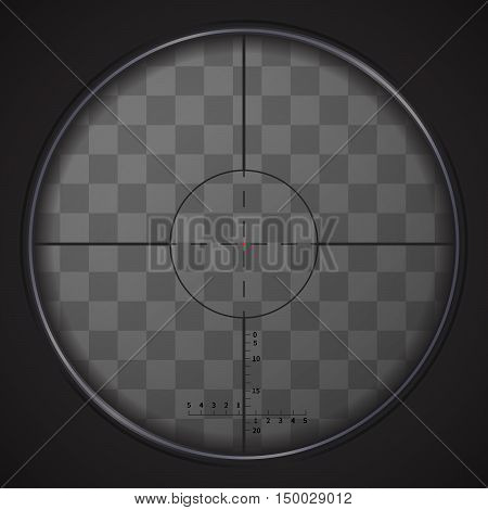 Realistic sniper sight with measurement marks on transparent background