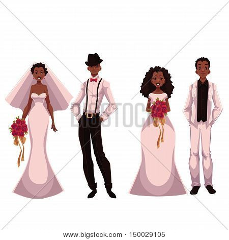 African American just married couple, set of brides and grooms, cartoon vector illustration isolated on white background. Two African brides and two grooms in fashionable clothing getting married