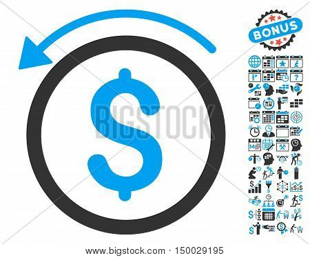 Refund pictograph with bonus calendar and time management images. Vector illustration style is flat iconic bicolor symbols, blue and gray colors, white background.