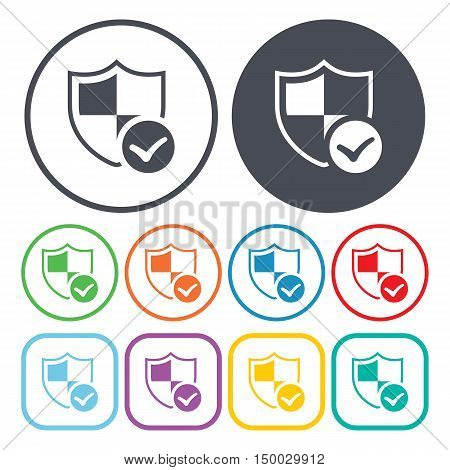Illustration Of Shield  Icon In Pattern Style Isolated On Background. Stock Vector Illustration.