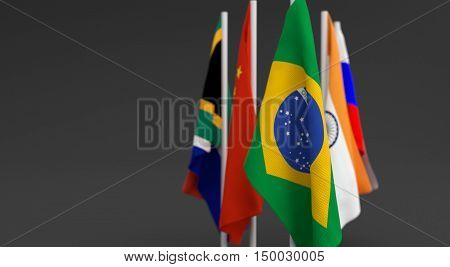 Illustration 3D Render, Flags Of The Five Countries Of The Brics,