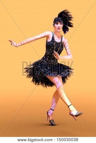 3D rendering of a female flapper dancer on orange background