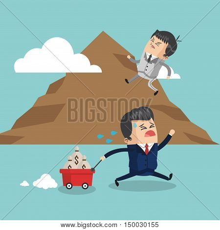 Businessman cartoon on mountain icon. Business strategy solution and work theme. Colorful design. Vector illustration
