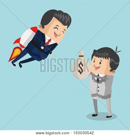 Businessman cartoon rocket and money bag icon. Business strategy solution and work theme. Colorful design. Vector illustration