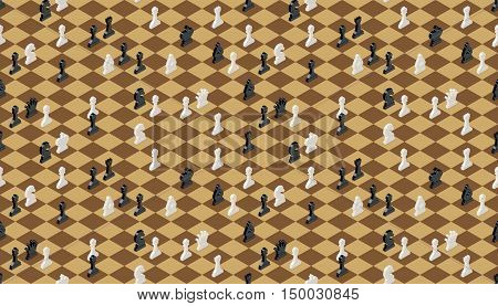 Classical chessboard with chess figures isometric seamless pattern